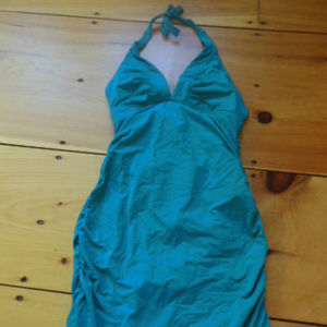 ATHLETA XS Teal Built-In Swim Dress Ruffled